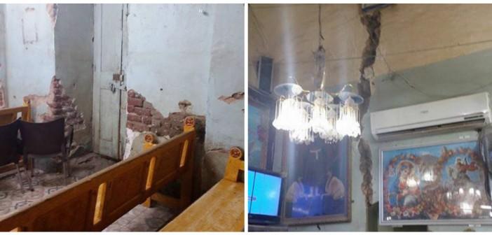 بالصور.. الشروخ تشق كنيسة «القارة» بقنا.. ومطالب بإعادة بنائها