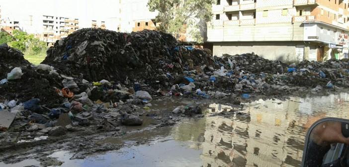 بالصور.. شوارع منطقة المراغي بالإسكندرية تغرق في الصرف والقمامة