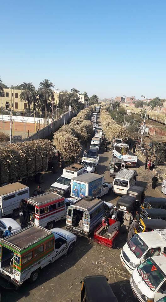«سكر كوم امبو» يتسبب في زحام «موسمي» على طريق القاهرة ـ أسوان الزراعي