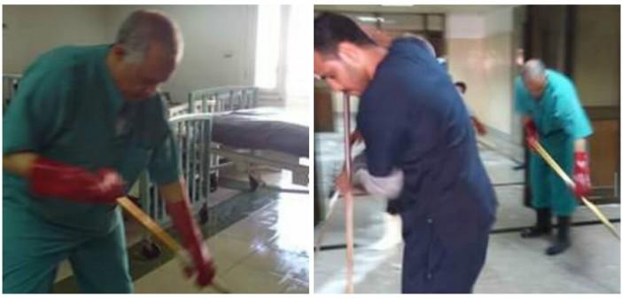بالصور.. رئيس قسم جراحة الأطفال بمستشفى أسيوط يشارك عمال النظافة مهامهم