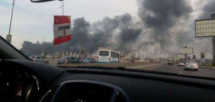 🔥 بالصور.. اندلاع حريق في مصنع للبطاريات عَ القاهرة ـ الإسكندرية الصحراوي