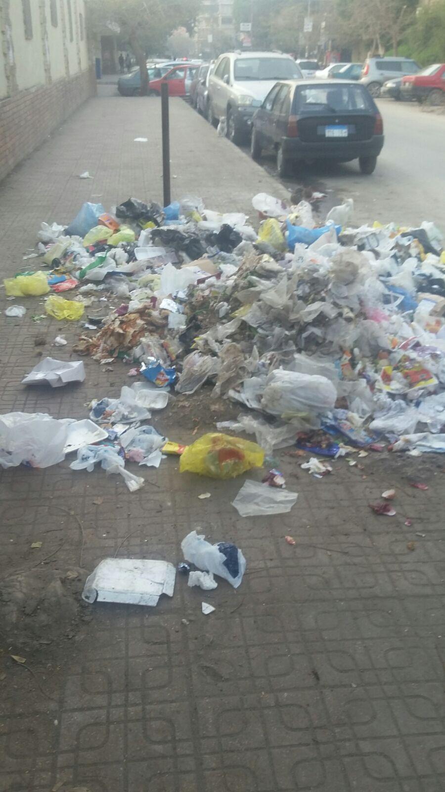 تجمعات يومية للقمامة بجوار كلية البنات بمدينة نصر