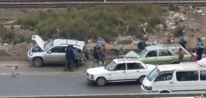 ⚠ بالصور.. تصادم عَ القاهرة ـ الإسكندرية الزراعي دون سقوط ضحايا