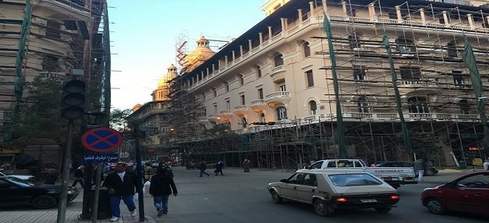 📷| بالصور.. ترميم مباني القاهرة الخديوية (شارع عماد الدين بوسط البلد)