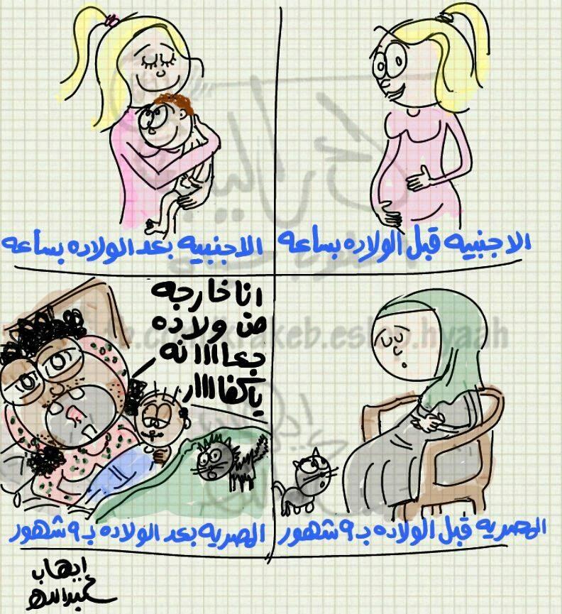 المصرية VS الأجنبية وقت الولادة (كاريكاتير)
