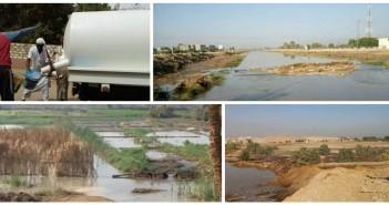 انقطاع المياه عن 15 قرية بالنوبة وغرق أراضي بعد انهيار حوض للصرف الصحي