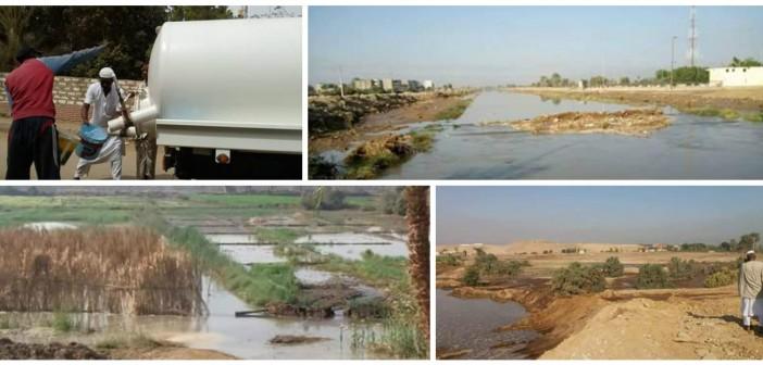 بالصور..قطع المياه عن 15 قرية بالنوبة.. وغرق أراضي بعد انهيار حوض صرف صحي
