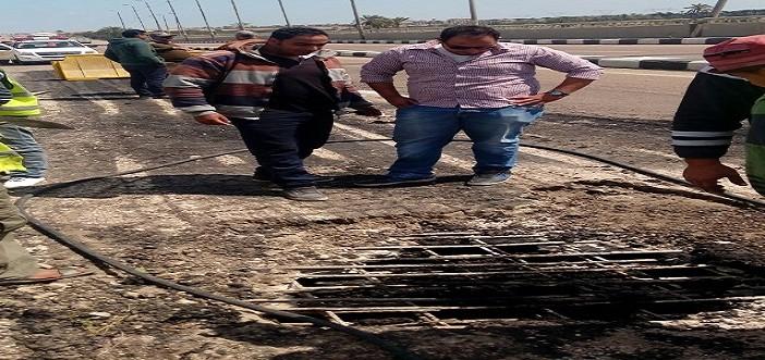 📷|بالصور.. هبوط في كوبري رئيسي على الطريق الدولي بكفر الشيخ