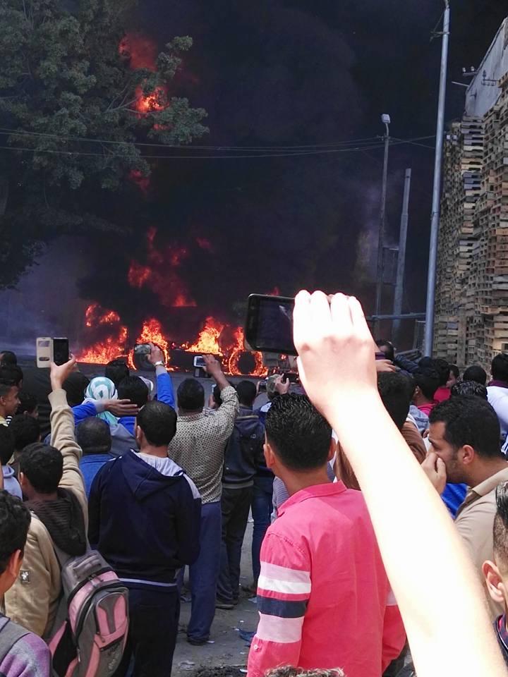 بالصور.. انفجار شاحنة وقود قرب محطة كهرباء الورديان غرب الإسكندرية