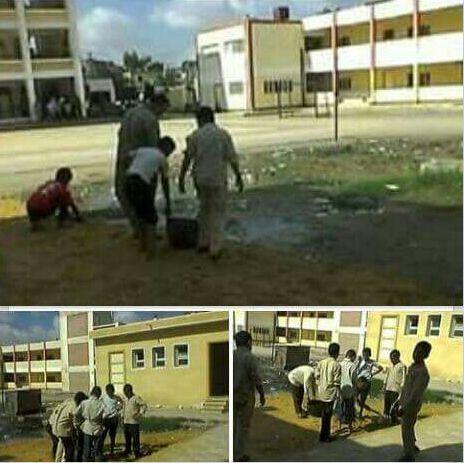 طلاب مدرسة بكفر الشيخ يكنسونها.. ومواطن: «هكذا تسير العملية التعليمية»