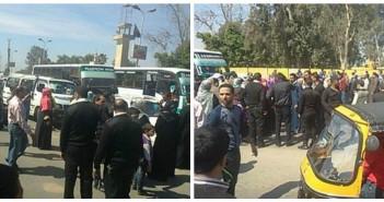 بالصور.. قطع طريق الكورنيش اعتراضًا على وقف توزيع اللبن المدعم عبر الشركة المصرية