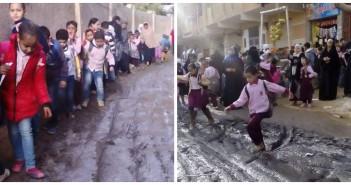 بالصور.. ما بين الوحل والقمامة.. رحلة المعاناة اليومية لتلاميذ مدرسة بعزبة الهجانة