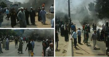 بالصور.. محتجون يقطعون طريق المحلة ـ طنطا بسبب اختفاء ربة منزل