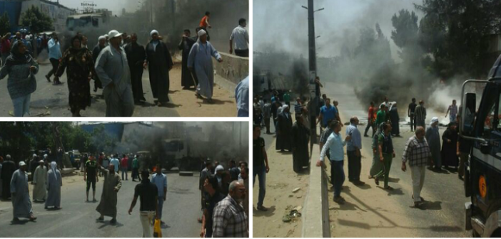 بالصور.. محتجون يقطعون طريق المحلة ـ طنطا بعد اختفاء ربة منزل