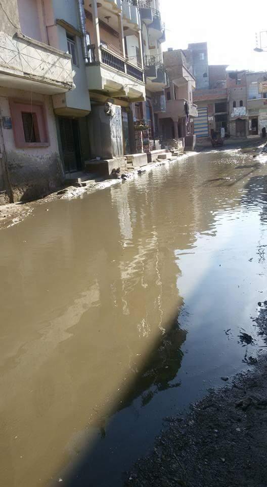 بالصور والفيديو.. غرق شوارع «الوزاراية» بكفر الشيخ في طفح الصرف الصحي