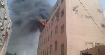 حريق بمستشفى التأمين الصحي بالمحلة
