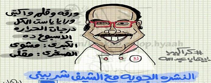 النشرة الجوية مع الشيف شربيني (كاريكاتير)