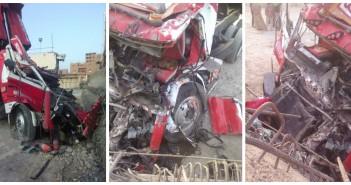 بالصور.. مصرع سائق وإصابة مساعده بمحور روض الفرج بعد سقوط خرسانة على السيارة