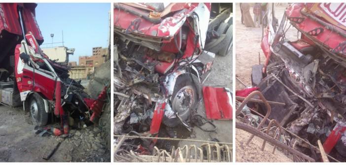 صور.. مصرع سائق وإصابة آخر بمحور روض الفرج بعد سقوط خرسانة على السيارة