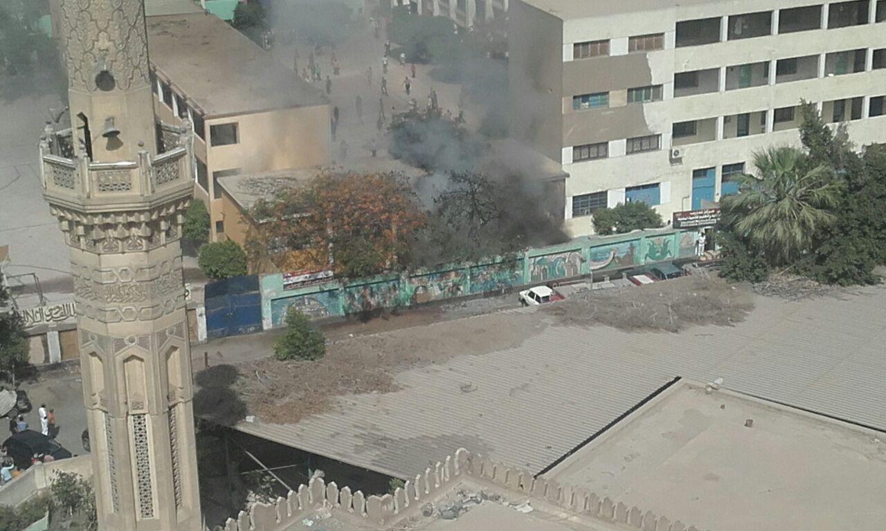 لحظة انفجار اسطوانة غاز بمدرسة للتعليم المهني بالدقي (صور)