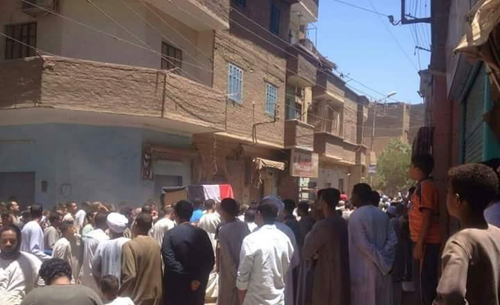 جنازة هشام حزين في قنا بعد استشهاده بهجوم إرهابي بالعريش