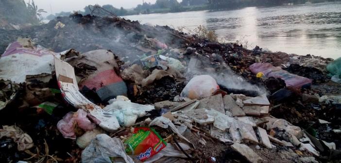 صور | ضفاف نهر النيل بميت غمر مقلب قمامة في غياب المحليات