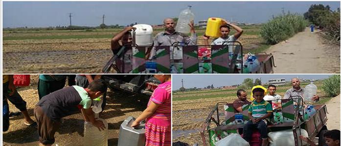 بالجراكن.. رحلة أهالي 13 قرية بالبحيرة في البحث عن قطرة مياه منذ عام (صور)