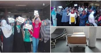 بالصور.. تواصل إضراب مستشفى شبين الكوم لليوم السادسة للمطالبة برحيل رئيسة التمريض