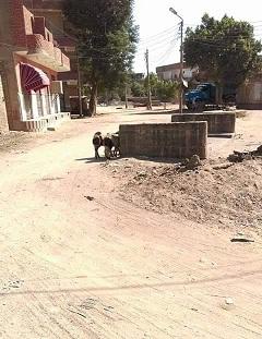 أهالي في إدفو يطالبون بإزالة كتلة خرسانية تتوسط طريق عام (صور)