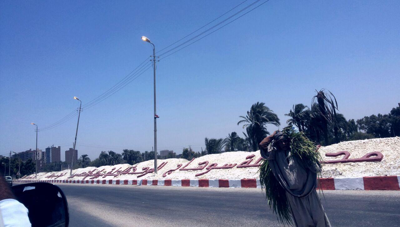 صورة | إضاءة أعمدة الإنارة في مداخل سوهاج «في عز الضهر»