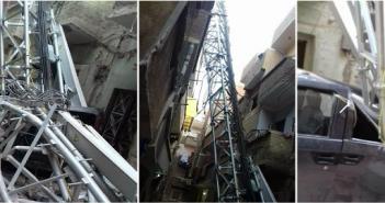 أسيوط| سقوط برج اتصالات لإحدى شركات المحمول في منفلوط (صور)