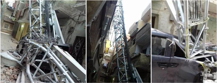 سقوط برج لإحدى شركات المحمول في منفلوط.. «والأهالي»: أنقذونا (صور)