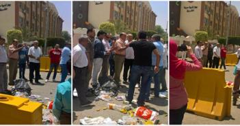 فيديو وصور.. سكان «الشروق» يجمعون القمامة من الشوارع ويلقونها أمام جهاز المدينة: «طلعت ريحتكم»