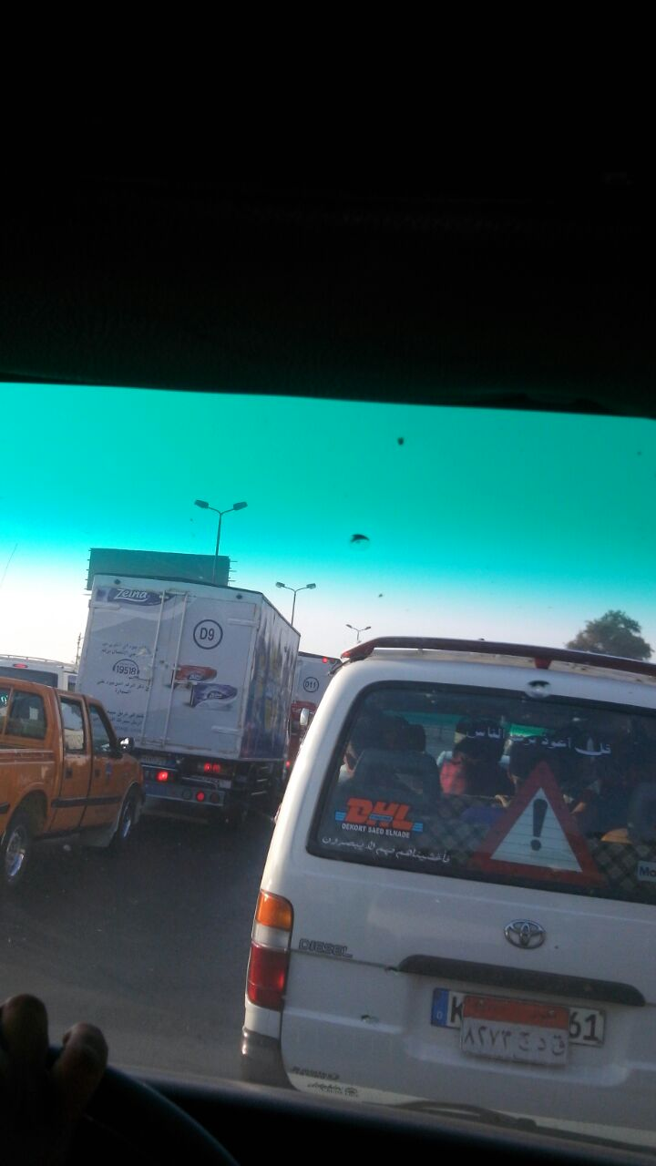 زحام عَ الزراعي بسبب حادث مروري بين قها وسنديون بالقليوبية (صور)