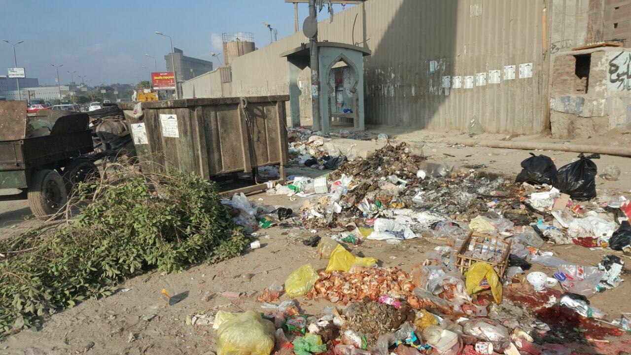 بالصور.. تفاقم أزمة القمامة على مدخل مدينة قباء بجسر السويس