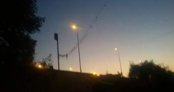أعمدة الإنارة مضاءة عَ الدائري بمحافظة الجيزة صباحاً (صورة)