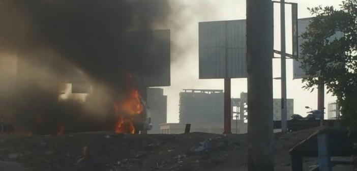 لحظة احتراق سيارة على طريق مصر ـ إسكندرية الزراعي (فيديو وصور)