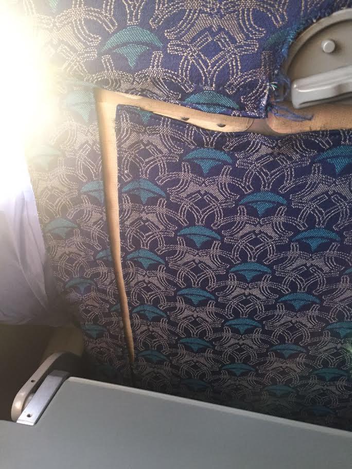 مواطنة تشتكي من تردي الخدمات على طائرة مصر للطيران المتجهة للندن « كراسي ممزقه والأكل فيه شعر»(صورة)