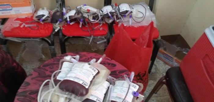 للعام الثالث.. شباب «حفنا» بالشرقية ينظمون حملة للتبرع بالدم (صور)
