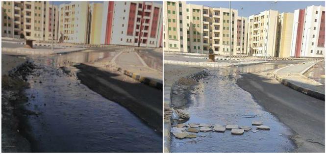 صور | بعد أيام من تسليم الشقق.. طفح الصرف بشوارع «الإسكان الاجتماعي» بالقاهرة الجديدة