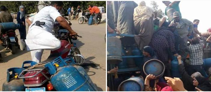 مواطنون يتصارعون على أنبوبة غاز.. ونفوذ أمين شرطة يمنحه 4 أنابيب (صور)