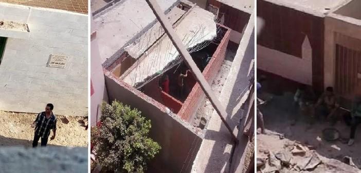 بالصور.. أسرة تضرب عن الطعام في قسم تلا بسبب بناء مقابر داخل الكتلة السكنية