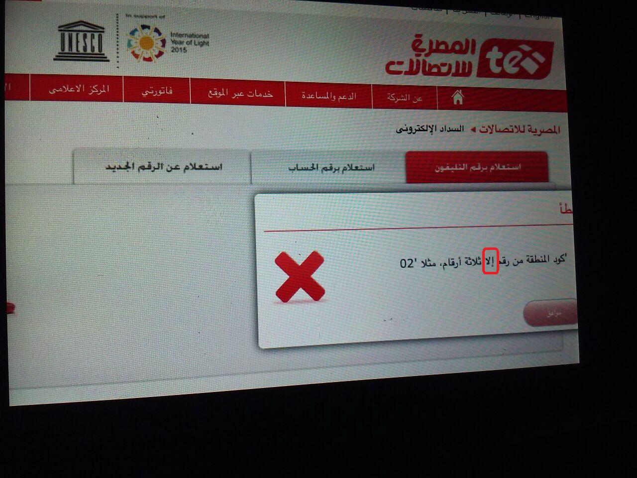 «إلى مش إلا».. خطأ لغوي على بوابة خدمات «المصرية للاتصالات» (صورة)