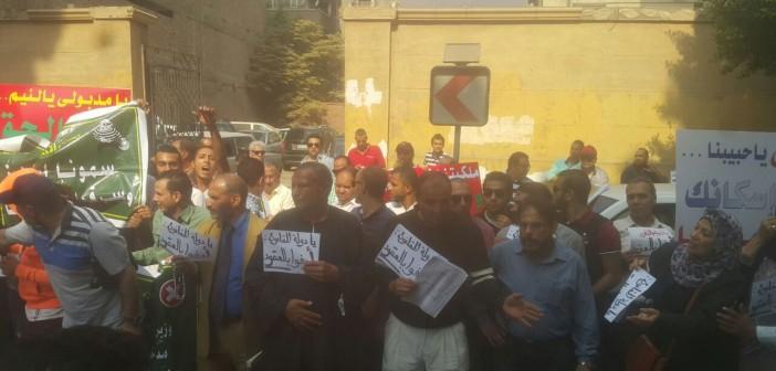 صور وفيديو.. ملاك الحزام الأخضر يتظاهرون أمام «الإسكان».. ويطالبون بإقالة «مدبولي»