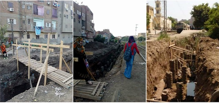 صور.. غضب بسبب أعمال حفر للسكك الحديدية بالقناطر الخيرية «مصيدة للأطفال وكبار السن»