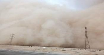 بالصور .. عاصفة ترابية تجتاح على طريق الجيش ببني سويف (صور)