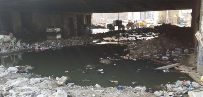 غرق كوبري الدائري بالوراق في الصرف الصحي والقمامة (صورة)