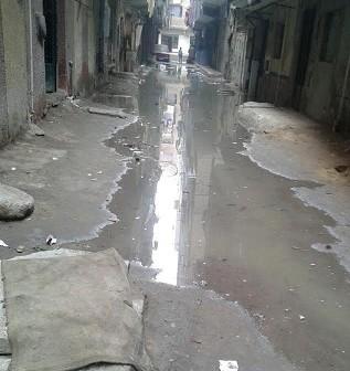 غرق شارع بصفط اللبن في مياه الصرف الصحي (صورة)