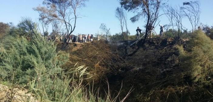 السيطرة على حريق نشب بأحد المصارف بقرية «الشجاعة» بالبحيرة (صور)