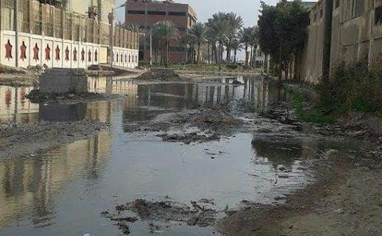 غرق شوارع بالمنطقة الصناعية بقويسنا في الصرف الصحي (صور)